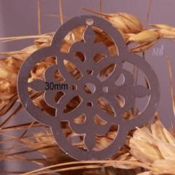 4 estampes acier médiéval formé 4 fleurs de lys argenté 30mm