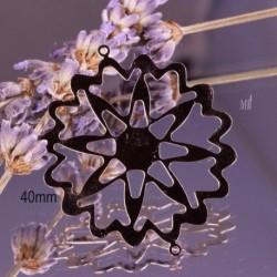4 estampes connecteur acier inoxydable étoile argenté 40mm