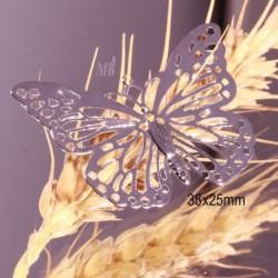 4 estampes acier inoxydable grand papillon  argenté 38x25mm