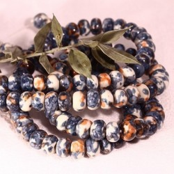 8x5mm :8 perles de jade océanique bleu d'encre/rouille marbré blanc