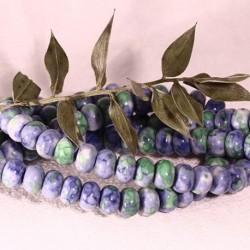 8x5mm :8 perles de jade océanique bleu ciel/vert marbré blanc