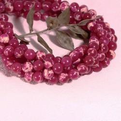 6MM: 10 perles régalite rose framboise  marbrée ronde