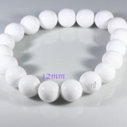 10 perles pierre jade  ronde blanches opaque 12mm