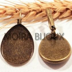 10 supports boucle d'oreille cabochon goutte bronze bordure dentelés  18x24mm
