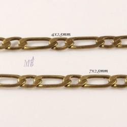 1 mètre chaine laiton soudé plat 2 maillons 7x2,5mm et 4x2,5mm bronze