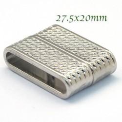 1 fermoir  magnétique tresse platine pour cuir 27.5x20mm