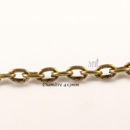 5 Mètres  chaîne maillon bronze  ovale strié 104Y  4x3mm