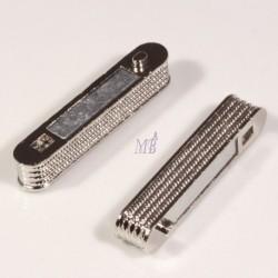 fermoirs magnétique rectangle argenté granulé platine 38x14mm pour bracelet manchette