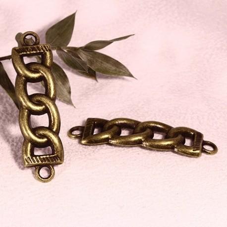 6 connecteurs maillon de chaine couleur bronze 44x12mm