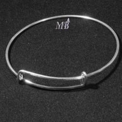 support bracelet jonc plaqué argent réglable attache gris-gris