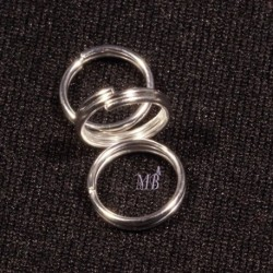 50 anneaux double métal argenté silver vif diamètre 10mm