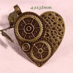 pendentifs coeur steampunk bronze à harmoniser 49x38mm x2