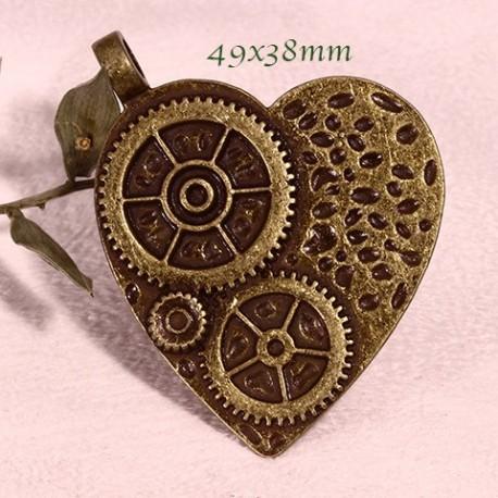 Coeur Steampunk 4 pendentifs coeur steampunk bronze à harmoniser 49x38mm