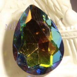 2 cabochons cristal goutte facettée multicolore 13x18mm