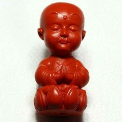 2 bouddhas prieur assis sur fleur  lotus cinabre rouge 36,5x18mm