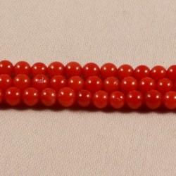 20 perles  de corail véritable rouge orangé 3,5mm