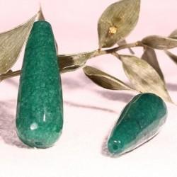 2 jades goutte facettée couleur vert foret longueur 29x11mm