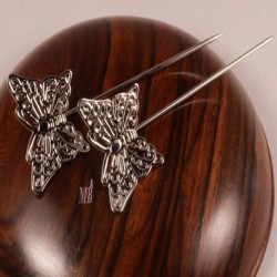 10 pics à cheveux motifs papillon en laiton  argenté 58mm