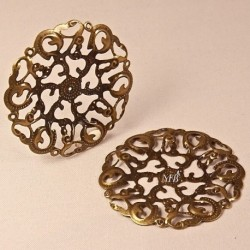 10 estampes pendentif filigrane bronze ciselés 44mm