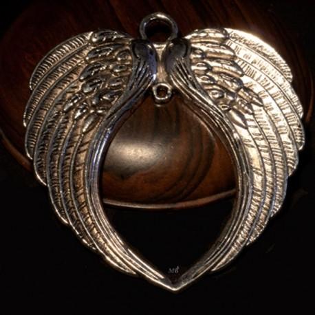 1 grand  support pendentif double aile d'ange métal argenté 74x69mm