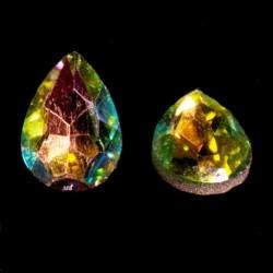 2 cabochons cristal goutte facettée bleu  vert ,rose jaune  14x10mm