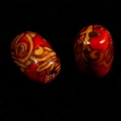 40 perles en bois imprimé fleurs et volutes tube rouge 13x9mm