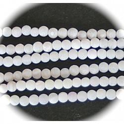 20 agates rondes givrées craquelées blanc neige   4mm