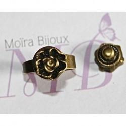 2 boutons pression bronze fleur en relief  spécial bague 16mm
