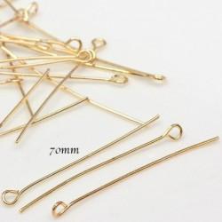 20 clous tête ronde  doré plaqué  longueur  70 mm