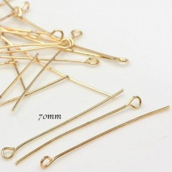 x20 clous tête ronde  doré plaqué  longueur  70 mm