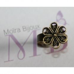 1 bouton pression bronze fleur filigrane  spécial bague 16mm