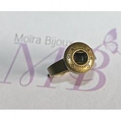 1support bague petites étoiles  pour bouton pression bronze 17,5mm