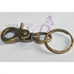 4 supports porte clefs +anneau mousqueton couleur bronze  65x25mm