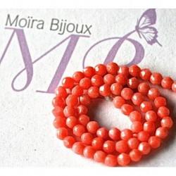 30 perles de corail naturel rondes  non teint facetté diamètre 3mm