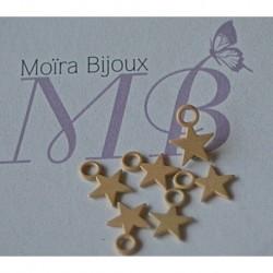 6 étoiles beige paille  émaillées 1cm anneau compris