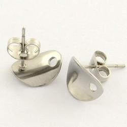 2 supports boucle d'oreille clou acier ovale incurvé 11x8.5mm