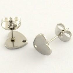 4 supports boucle d'oreille clou acier coeur  8x8mm