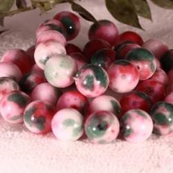 10MM : x10 perles  jade ronde blanc teinté vert/rouge cerise