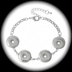 1bracelet chunk métal argenté 4 emplacements bouton pression 20cmm