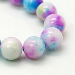 10MM : 8 perles  jade ronde blanc teinté bleu/rose/jaune