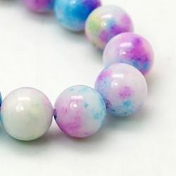 10MM : x10 perles  jade ronde blanc teinté bleu/rose/jaune