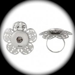 1 bague chunk fleur ciselée métal argenté silver 35mm