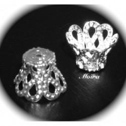x20 calottes coupelle mini métal couleur argent silver  7x9mm