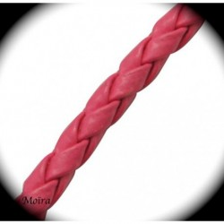 1mètre de cordon framboise simili cuir tressé épaisseur 3mm