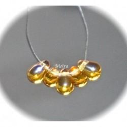 20 perles verre de bohème goutte  couleur topaze miel  6x4mm