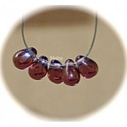 x 50 perles verre de bohème goutte  couleur améthyste  6x4mm