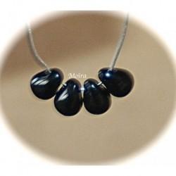 20 perles verre bohème  couleur noir jet 6x4mm