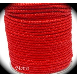 1mètre de cordon  tressé imitation simili cuir rouge vermillon  diamètre 6mm