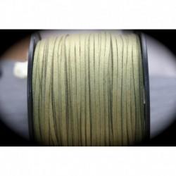 2 mètres de cordon suédine plat vert olive clair  3x1,5mm