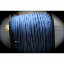 1mètre de cordon suédine plat bleu royal  3x1,5m